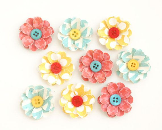 HANDMADE Paper FLOWERS with BUTTON Centers 9 by PapersAndPetals