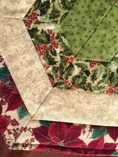Navidad Roja y verde acolchado hexagonal corredor de por seaquilt