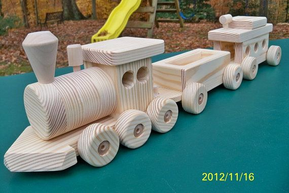 Wooden Train Set Large 3 car Handmade toy Pine by mikebtoys, $59.95
