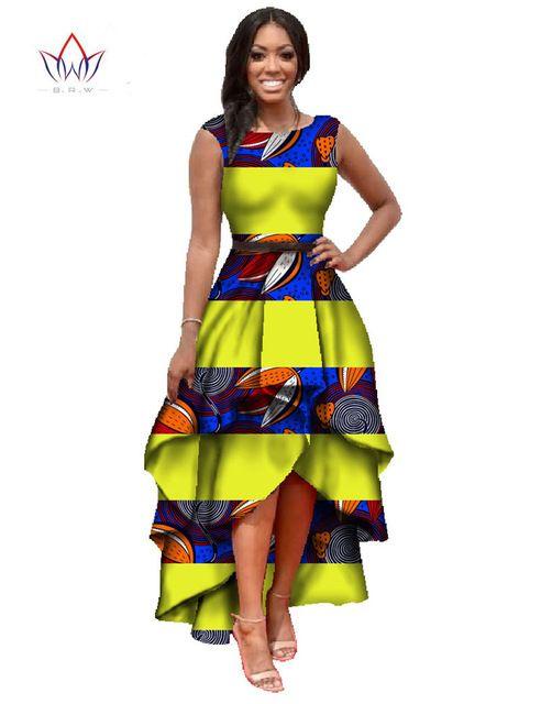 Africain vêtements pour femmes o-cou broderie africaine bazin dress Dashiki femmes dress coton africain imprimer dress grande taille WY447