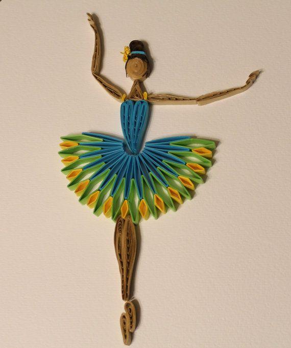 Quilled Ballerina arte della parete con di Especially4UHandmade