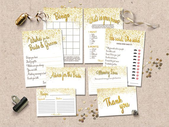 PIN IT NOW for later! Give your Bridal Shower festive and joyful touch with this Printable Bridal Shower Games Mega Pack with Gold Foil effect Confetti and Typography.