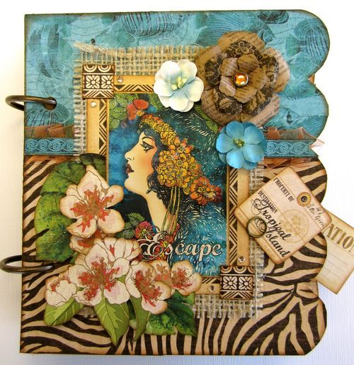 This Tropical Travelogue mini album will whisk you away to paradise! By Maria Cole #Graphic45 #minialbums