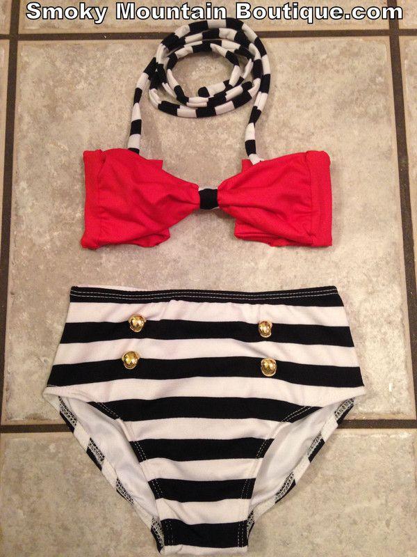 swimwear kids fashion high waist swimsuit vintage swimwear kids swimsuit child…