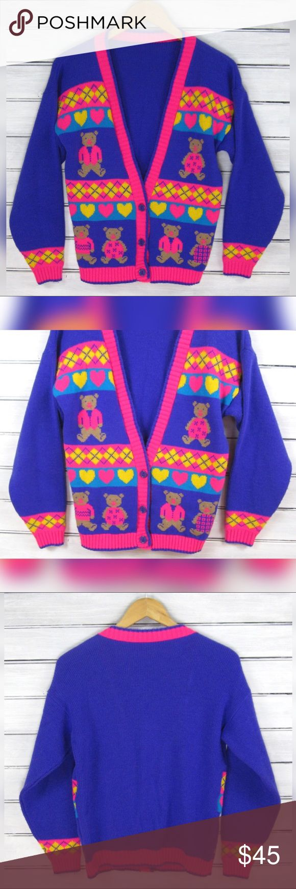 90s Neon TEDDY BEAR Knit Club Kid Cardigan Sweater Vintage 90s neon purple intarsia knit teddy bear cardigan sweater! Features long sleeves, a front button closure and a v-neckline. Bright flourescent violet purple in color (looks slightly more blue in my pictures for some reason) featuring hot pink, turquoise and yellow accents. Design shows adorable Intarsia knit teddy bears, hearts and tartan plaid! Unbranded, feels like a synthetic knit, ONE OF A KIND!  No size is tagged but this would…