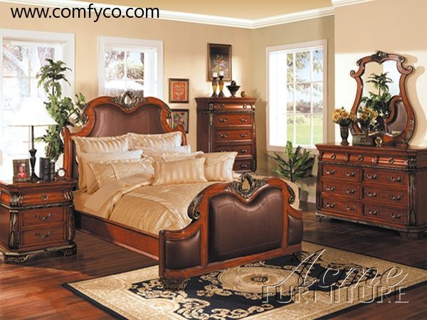 1800Artemis II Cherry Finish Roman Bedroom Set By Acme Corporation Classic Bedrooms At Comfyclassica