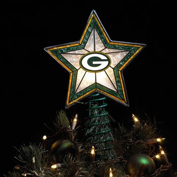 Green Bay Packers Light-Up Art Glass Tree Topper - this would be cool in a Packers Room! I wish this was available!!!!!