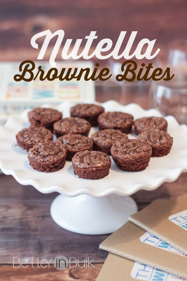 Easy to make finger-food, add Nutella to your favorite brownie recipe. Cut into round bites and serve to your family.
