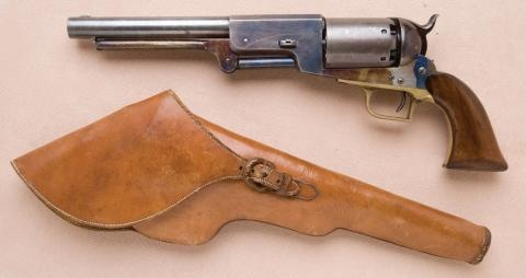 Colt Walker w/original holster. This Walker has been modified with a retaining mechanism for the loading lever.