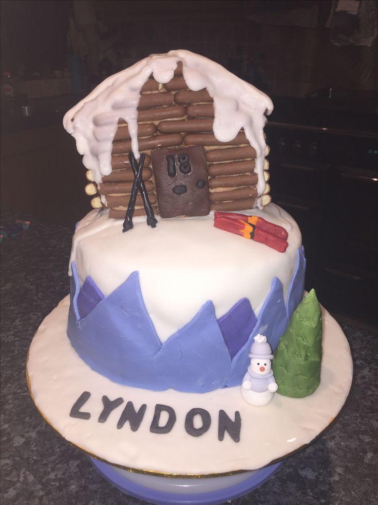 Ski themed cake. Chocolate cake. Gingerbread chocolate finger house. Birthday boy. Birthday.