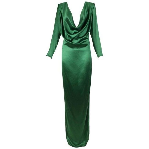Preowned Jean Paul Gaultier Emerald Green Cowl Neck Evening Gown Ca. ($2,100) ❤ liked on Polyvore featuring dresses, gowns, evening dresses, green, green gown, green long sleeve dress, long sleeve ball gowns, high-low dresses and green evening dress