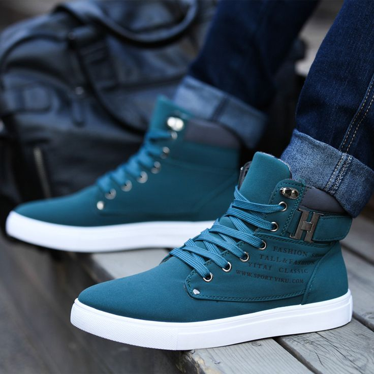 2014 New Zapatos de Hombre Mens Fashion Spring Autumn Leather Shoes Street Men's Casual Fashion High Top Shoes Canvas Sneakers - Blue