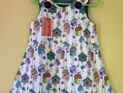 Girls+Dress/Pinafore+size+2+Cotton+dress+ party+dress+birdhouse+fabric+Dress+Sleeveless