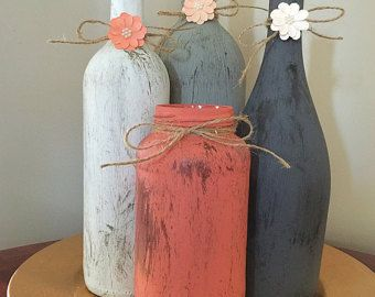 Wine Bottle centerpiece bridal shower decor by RusticHousewives