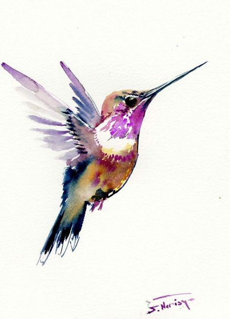 Hummingbird 12 X 9 In One Of A Kind Watercolor Art By