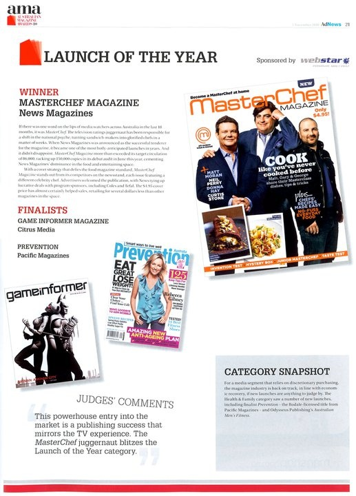 MasterChef wins Magazine Launch Of The Year.