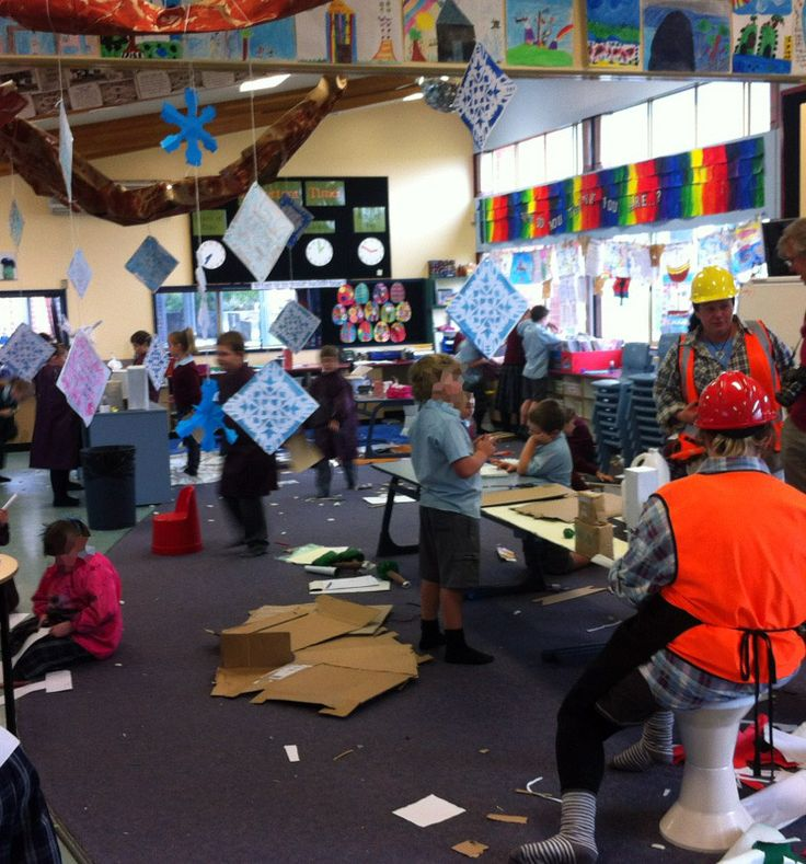 a big part of team teaching is all about signification - here in the wonderful Holy Rosary School in Claremont Tasmania (near the Cadbury factory!) the two (fab) teachers use coloured hardhats to indicate that they are / are not available for student help.     While you are there, also note the:  shoes off,   agile space,   creative activity,   super-class numbers,   displayed work suspended on wires,   ...and the fun!