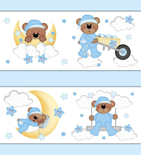 Teddy Bear Wallpaper Border Wall Art Decals for baby boy nursery room decor. Floating on the clouds, sleepy Teddy Bear enjoys being lulled to sleep by his friend the bright yellow moon along with the playful stars #decampstudios