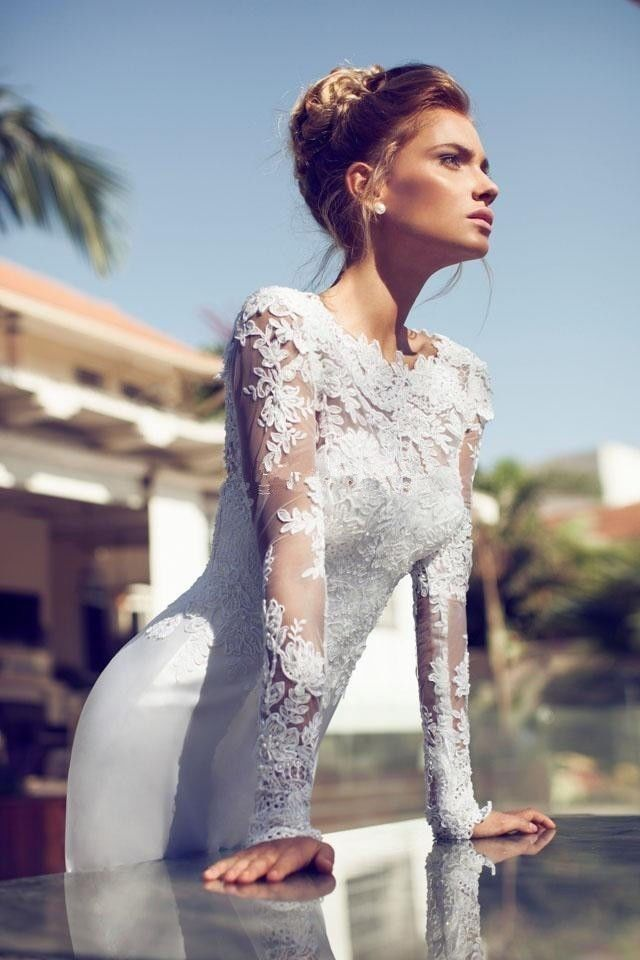 Custom Sexy Lace Appliue Full Sleeve Wedding Dress Bridal Gown Formal Pageant