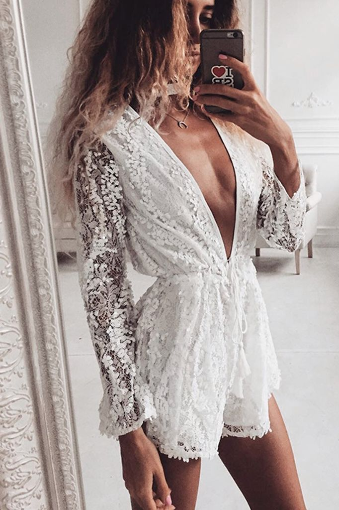 White Lace Sequined Playsuit