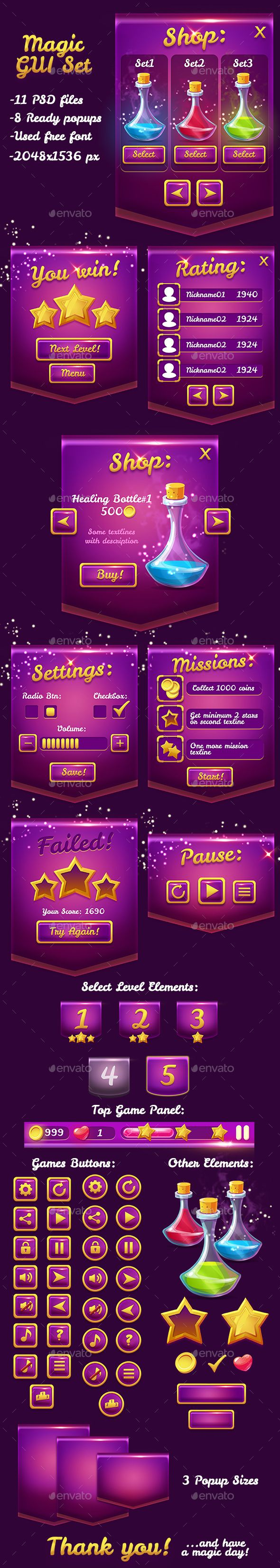 Magical Violet Glossy Game UI Pack Template PSD. Download here: http://graphicriver.net/item/magical-violet-glossy-game-ui-pack/15577565?ref=ksioks