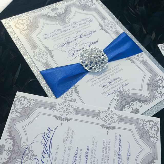 Blue and Silver Formal Invitation Suite by Platinum Shoppette (Los Angeles, CA) (5)