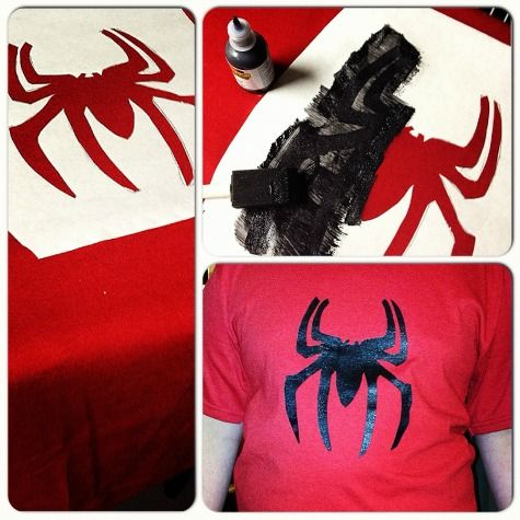 Freezer paper stenciled t-shirt. (Except I'm getting rid of the spider and stenciling a dachshund.)