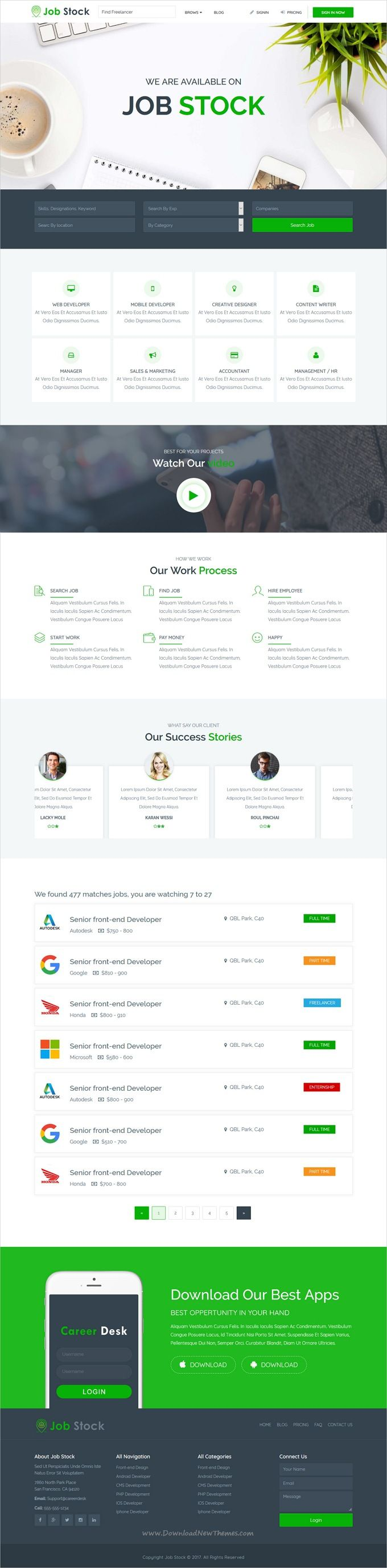 Job Stock is clean and modern design 4in1 responsive #HTML5 template for creative #jobboard or #job portal website download now..