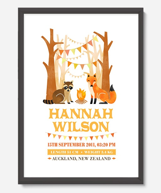 Art Prints : Personalised Birth Print - Woodlands