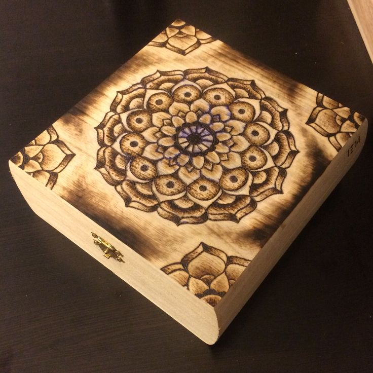 Mandala pyrography cigar box