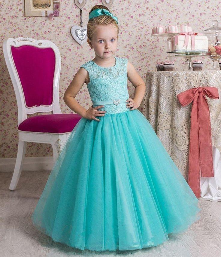 Summer Long Blue With Lace Kids Flower Girls Dresses For Weddings Custom Made Vestidos De Primera