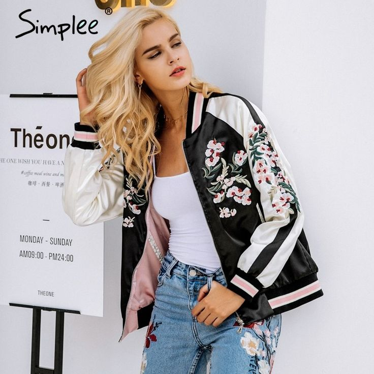 Women's Floral Embroidered Satin Autumn Jacket //  Price: $59.98 & FREE Shipping //   Women's Floral Embroidered Satin Autumn Jacket     My Monster Deal  #Sweaters