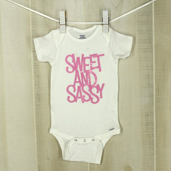 Sweet And Sassy Baby Girl Onesie Funny Baby Shower Gift Adorable Baby Girl Present Sweet 'n' Sassy Bodysuit Sassy Baby Sweet Baby by OyoPOP