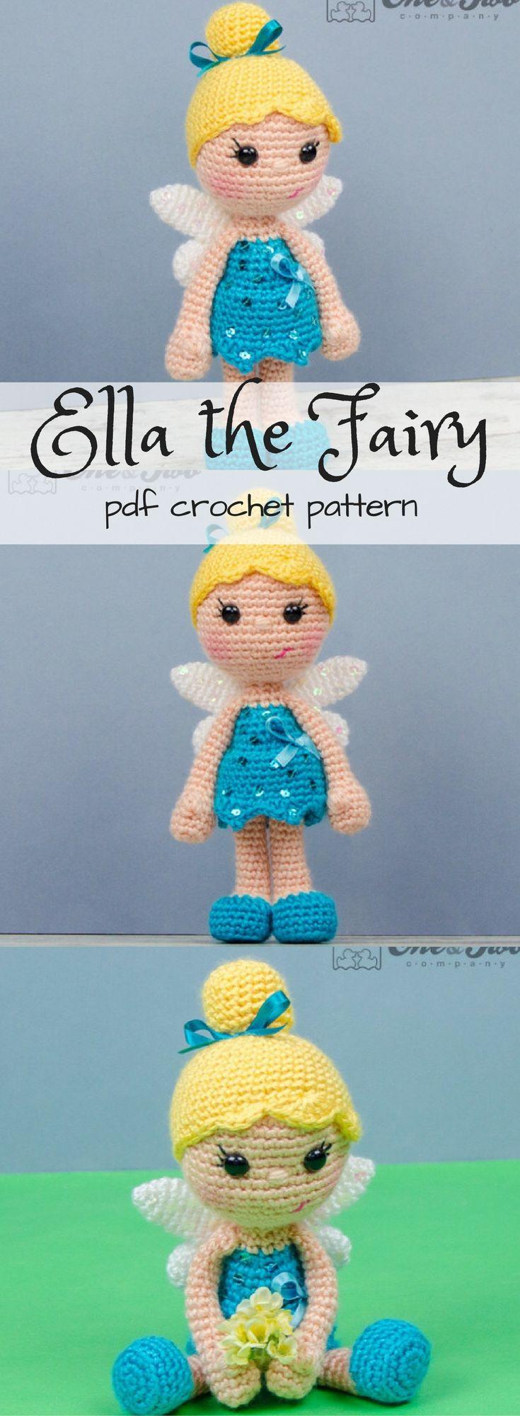 Crochet fairy doll pattern. PDF Amigurumi toy crochet pattern. Looks like Tinkerbell! #etdy #ad