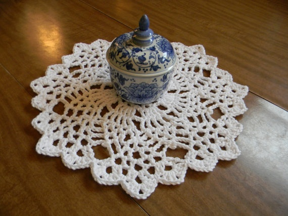 White Round Table Centerpiece Doily by MonacoHandmade on Etsy, $26.00