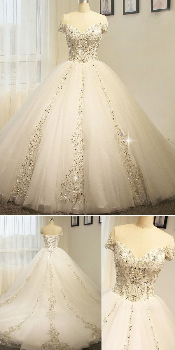 Brilliant Tulle Off-the-shoulder Neckline Ball Gown Wedding Dress With Beaded Embroidery