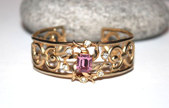 Vintage Coro Gold Plated Rhinestone Cuff, Bangle, Bracelet, Flower, Antique Alchemy on Etsy, $22.66 CAD
