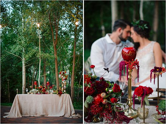 apple themed sweetheart table http://www.perfectstatement.com/ design & Claire Marika Photography snow white wedding @pseventdesign