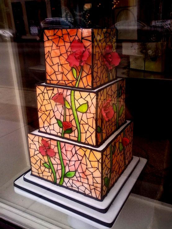 beautiful stained glass mosaic cake...I love that the flower petals are 3 dimensional!