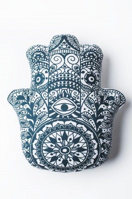Black and White Hamsa Hand Pillow                              …
