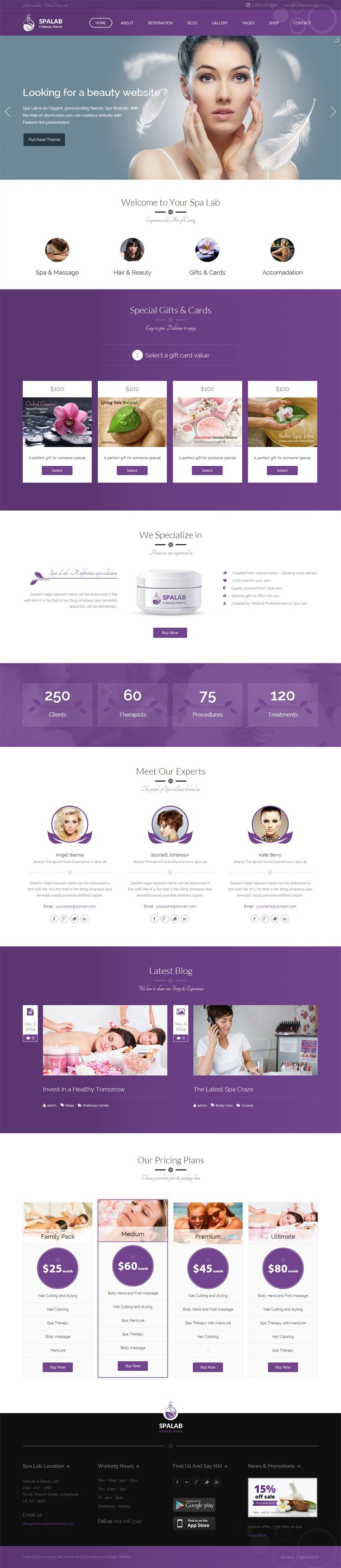 Spa Lab is a hand crafted Beauty Salon WordPress Theme for hair salons, wellness centre, yoga / meditation classes and all other health care businesses. The theme includes essential advanced features such as two types of menu card designs, therapies, reservation, gift card, product and shop and many more…