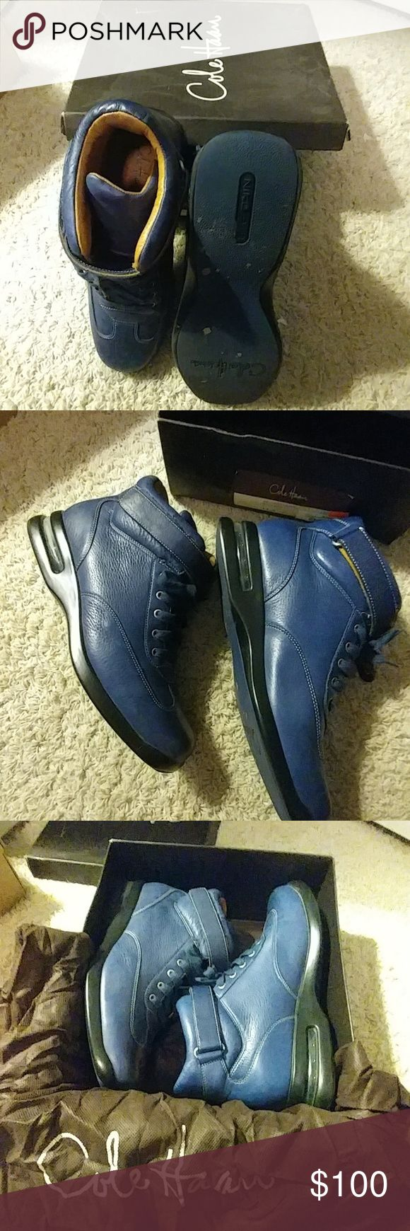 Cole Hann Hi Top Blue Leather Shoes Shoes