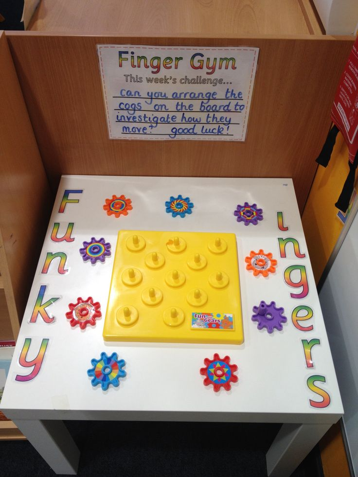 Funky Fingers - Can you arrange the cogs on the board to investigate how they move? (Don't you love how my laminated 'F' has mysteriously gone missing? )