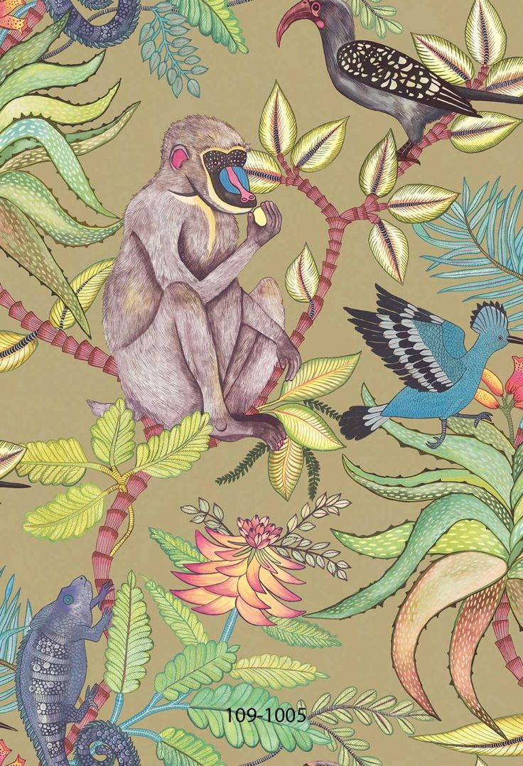 This majestic Savuti Wallpaper forms part of Cole & Son's Ardmore Collection.  It features a large scale design of baboons, chameleons, hoopoes and hornbills amongst flowers and foliage.