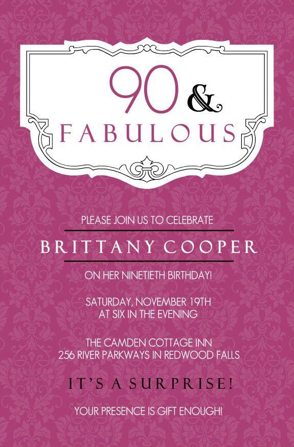 90th Birthday Invitations Samples