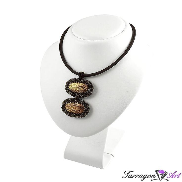 Wisior Beaded - Metallic Iris Brown - Naszyjniki i wisiory - Tarragon Art - stylowa biżuteria artystyczna