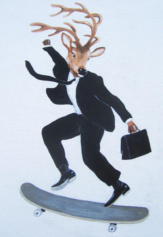 Deer on skate: Original painting on canvas