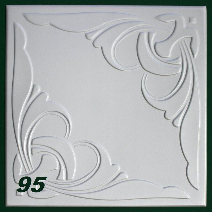 20 m2 Deckenplatten Styroporplatten Stuck Decke Dekor Platten 50x50cm, Nr.95