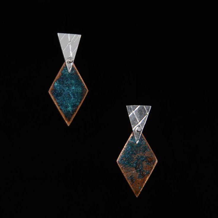 Aros de plata y cobre | Joyas hechas a mano/ Hand made jewelry | www.facebook,com/DeDiosas