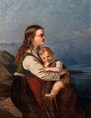 MOTHER AND CHILD, Alexandra Frosterus-Såltin - Alexandra Frosterus-Såltin toimi taiteilijan työnsä ohessa Suomen ensimmäisenä naisopettajana Taideyhdistyksen piirustuskoulussa Turussa 1874–1889 ja oppikoulussa sekä koulun johtajana 1880–1881.Hän oli myös kuvataiteilija, joka leskeksi jäätyään pystyi kuitenkin elättämään perheensä ja kouluttamaan molemmat poikansa taiteellisella työllä.